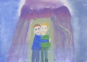 Kinderbild zweier sich umarmender Kinder.